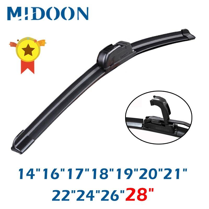 "MIDOON Universal Car Wiper Blade J-Hook Soft Frameless Bracketless Rubber Car Windshield Wipers 14""16""17""18""19""20""21""22""24""26""28"