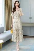 french retro puff sleeve small floral dress female 2021 new summer v neck long dress pleated skirt
