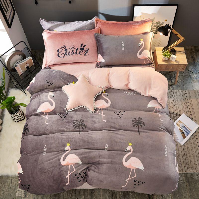 4 Uds franela de terciopelo cubierta nórdico sola reina tamaño cama Sets de almohadas jirafa cerdo cubierta de cama ropa de cama