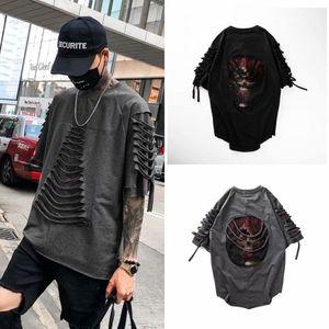 Summer Funny Hip Hop T Shirts Men Harajuku Casual Short Sleeve Gothic Tops Tees Male Cool Loose Devil Skeleton Tshirt Streetwear