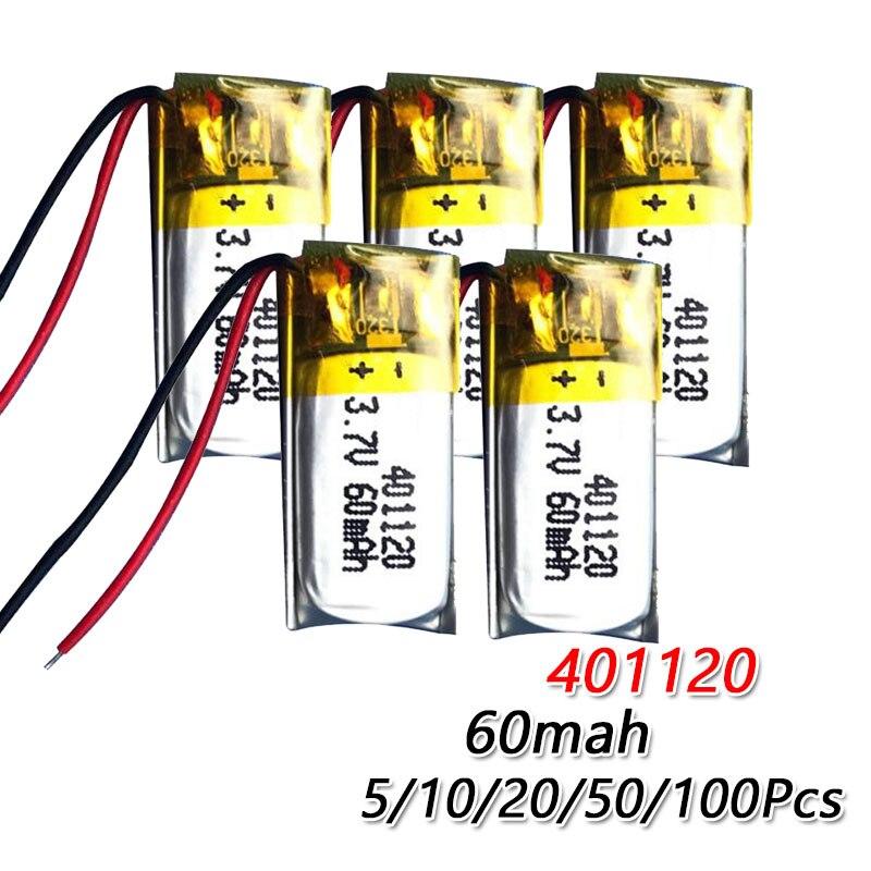 Batería de polímero de litio li-po 60mAh 3,7 v 401120 para auriculares BT gafas 3D palo de Selfie batería recargable de polímero mp3