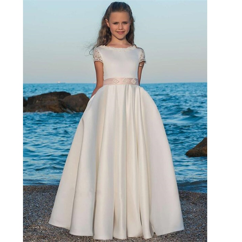 dresses mayoral 10686388 casual dress with short sleeves for girls Stain Flower Girl Dress A Line Lace Short Sleeves Pageant First Communion Dresses For Girls with Pockets