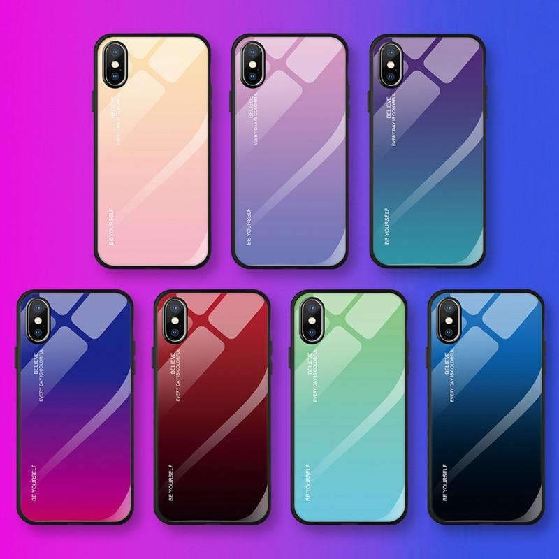Lujosa funda de cristal degradado para iPhone Xs Max Xr 7 7...