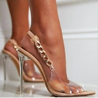 transparent sandals women sexy pointed toe chain crystal pumps ladies stiletto high heels wedding dress summer shoes for women