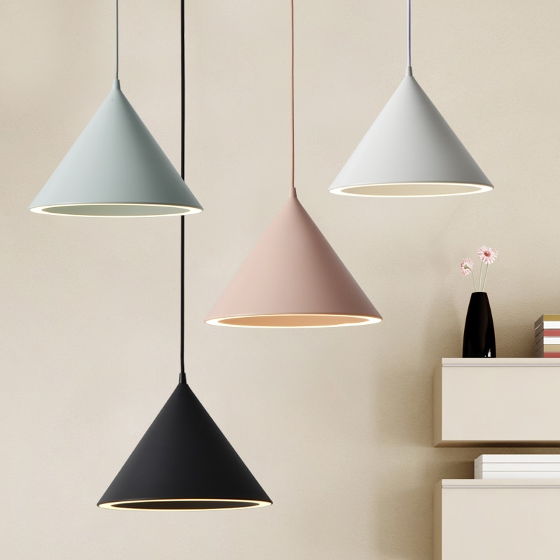 Modern Led Pendant Light Fixture With Aluminum Lampshade For Diningroom Cafe Bar Restaurant Nordic Cone Hanging Lamp Lampadario