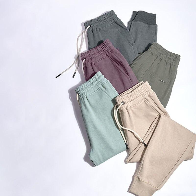 Однотонные повседневные джоггеры, мужские Брендовые спортивные брюки, модные разноцветные 360 г хлопковые брюки, мужские Всесезонные брюки ...