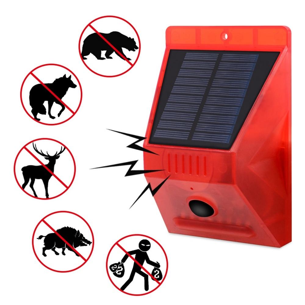 Solar Alarm Ligh 8 LED 2 Modes Alert Infrared Sensor Anti-theft Motion Detector Alarm Monitor Remote Control Alarm System 6