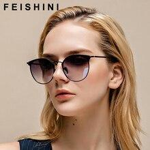 FEISHINI-lunettes de soleil yeux de chat   Cadre métallique ovale, lunettes à la mode 2020 pour femmes, protection UV dégradé, gris