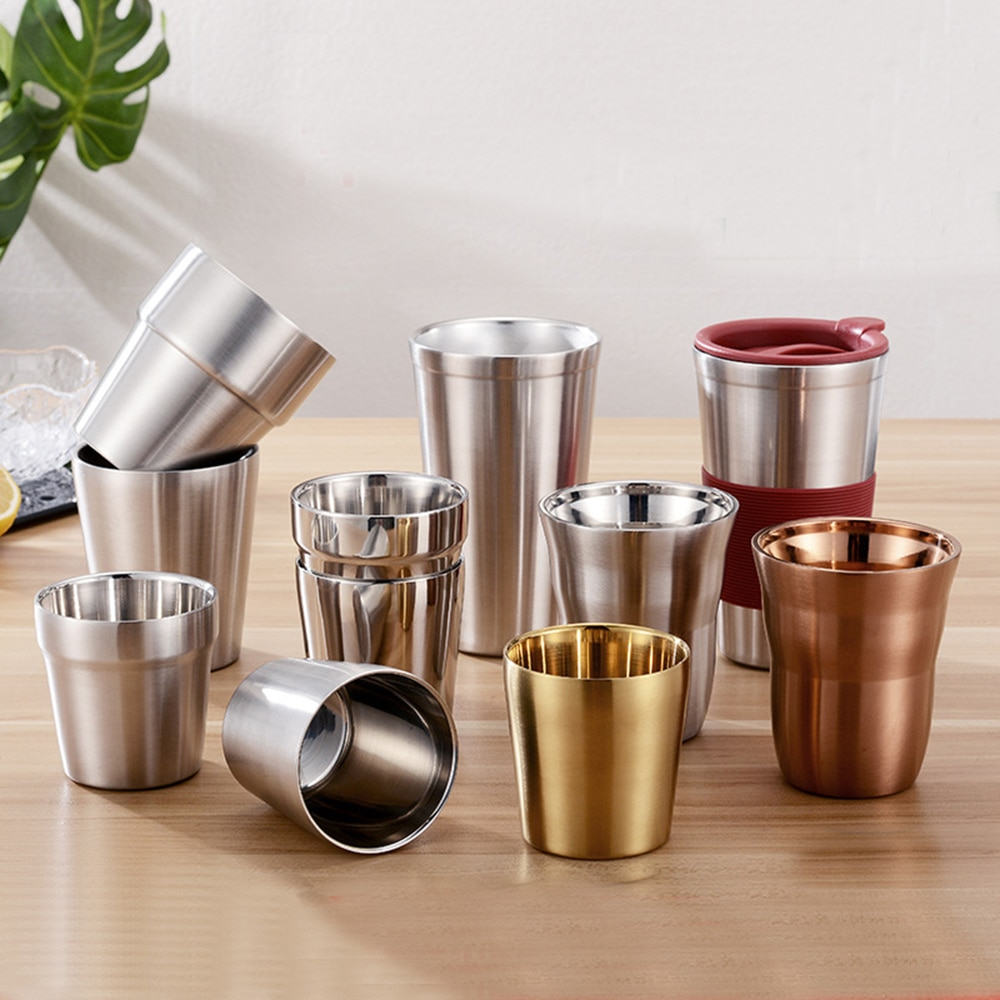 Venta caliente doble pared Acero inoxidable tazas y tazas 175/260/300/480ml Metal cerveza fría taza de café taza de Bar