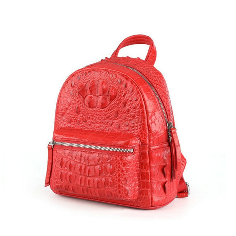 Real Crocodile Leather High-end Women Small Backpack Outdoor Casual Bags