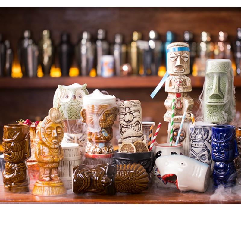 Bar restaurante Soul originalidad Hawaii cóctel copa de vino personalidad cerveza vino taza de esqueleto humano Totems Tiki cerámica taza