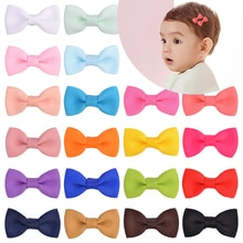 20PCS/Lot 1.3Inch Solid Bowknot With Metal Clip Sweet Gift Hairgrips For Girl Children Cute Small Ha