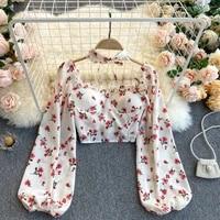 vintage floral chiffon women blouse 2021 new summer sexy long sleeve shirt spring female fashion slim crop tops