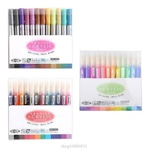 12 Colors Acrylic Paint Marker Pen for Ceramic Rock Glass Porcelain Mug Wood Canvas Painting D07 20 Dropshipping