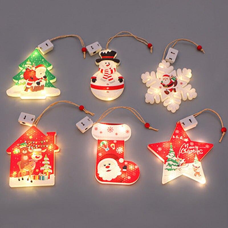 skidproof christmas lighting tree pattern rug 6 Pcs Christmas Tree Hanging Lights LED New Year Christmas Decoration Garland Lamps DIY Holiday Ornaments Garden String Lighting