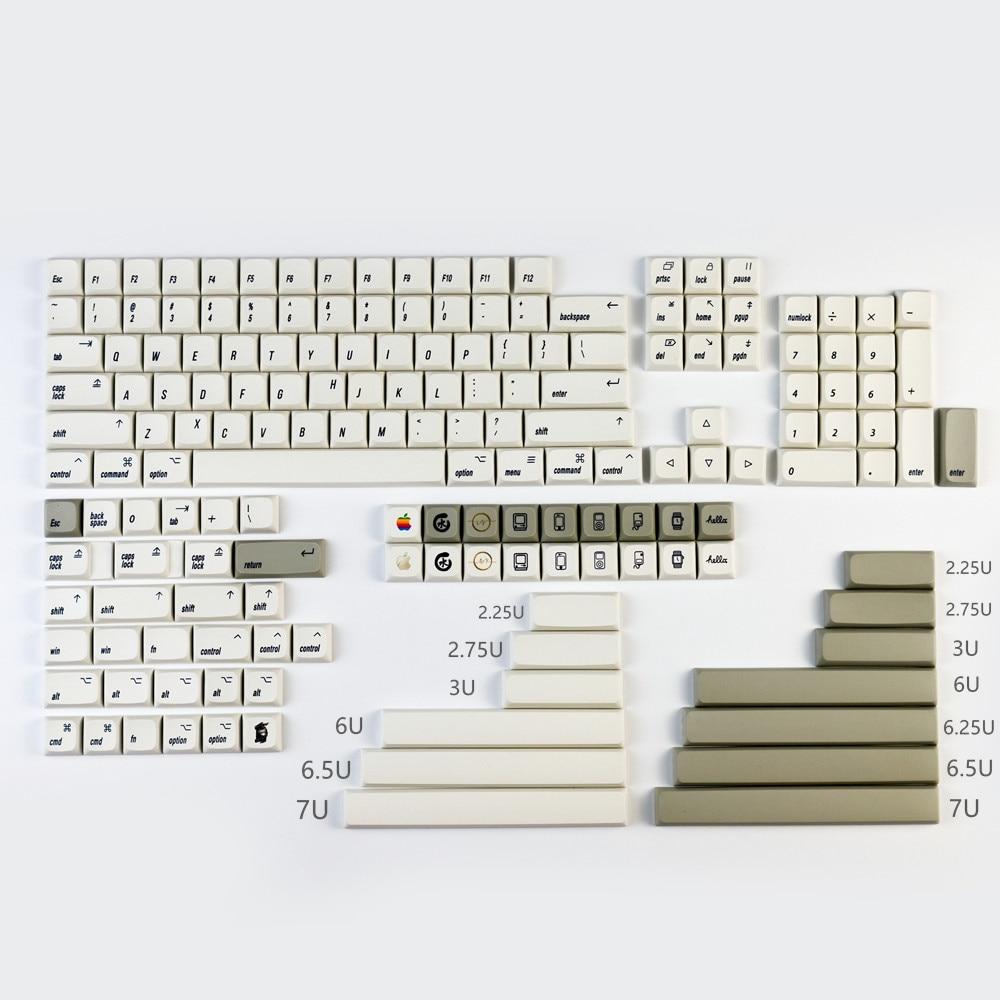 166 مفتاح/مجموعة الأبيض ريترو أبل نمط PBT صبغ سوبيد كيكابس ل MX التبديل الميكانيكية لوحة المفاتيح XDA الشخصي اليابانية مفتاح قبعات
