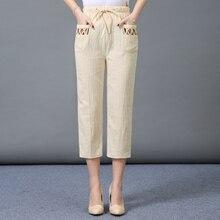 امرأة الربيع القطن الكتان السراويل الإناث الصيف عادية رقيقة 3/4 بنطلون المرأة مرونة الخصر سراويل كابري حجم كبير 4XL