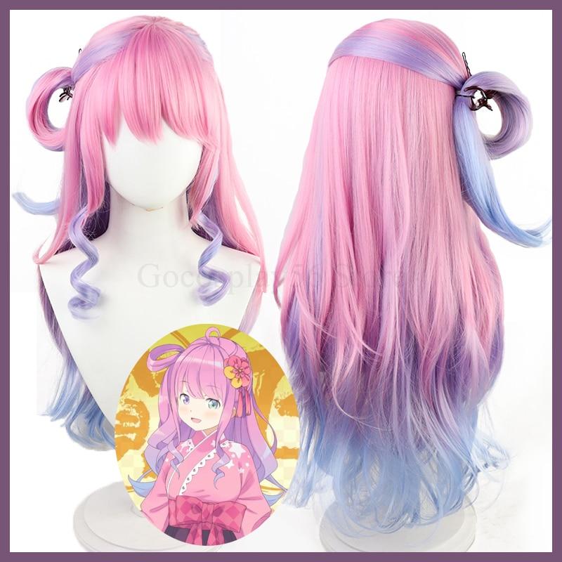 VTuber Himemori Luna Wig Hololive Girls Youtuber Cosplay Gradient Pink Blue Purple Long Curly Girls Heat Resistant Hair