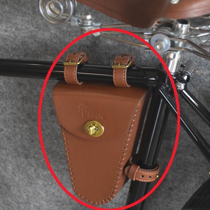 3 colors road bike frame bag leather PU retro triangle bag retro classic mountain bike bag handmade