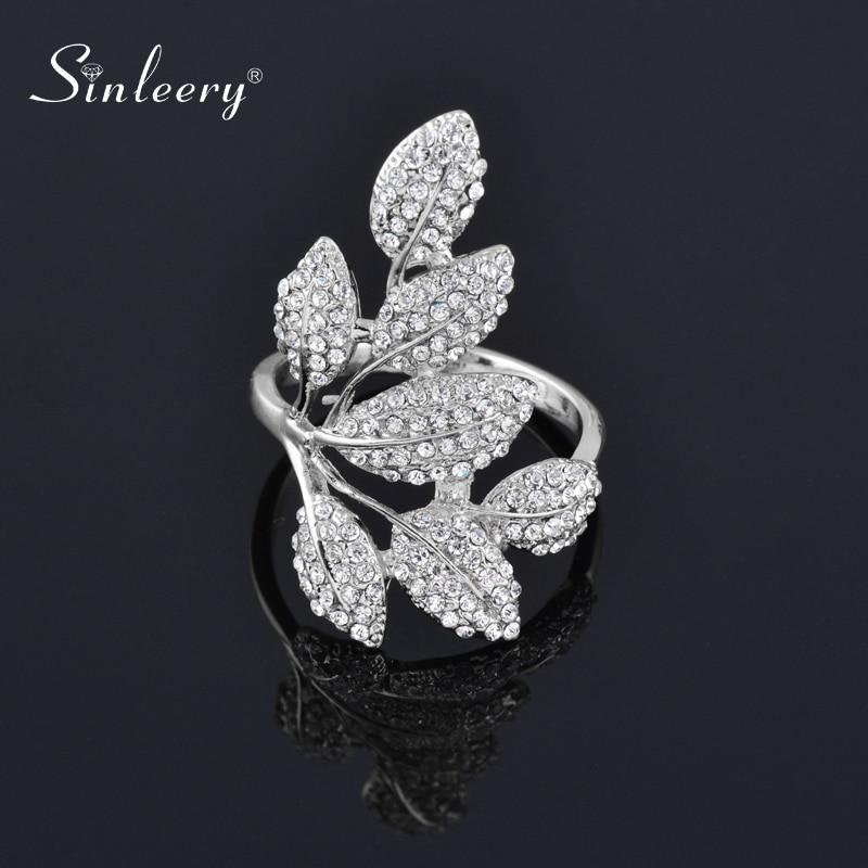 Женское кольцо с кристаллами SINLEERY, серебряное кольцо, вечерние ювелирные изделия, подарки, JZ058 SSH