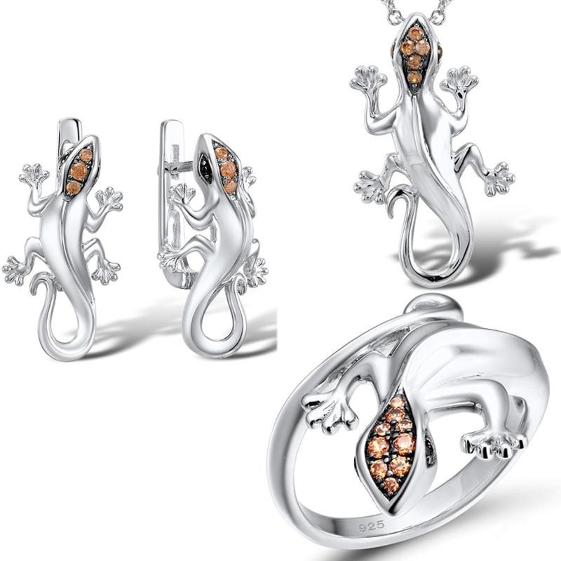 Conjunto de joyas de plata de lagartija Punk único para mujeres Gecko champán anillo de circón pendientes colgante collar de fiesta de cóctel conjunto de joyas