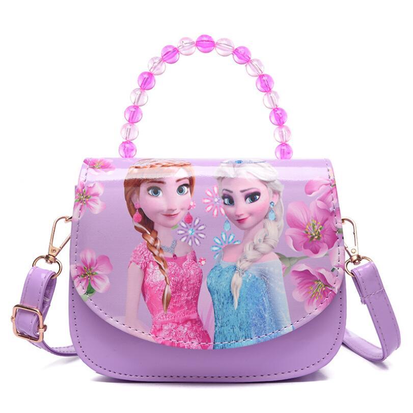 Bolso de mano Disney de dibujos animados de Elsa y Anna Bowknot, bonito bolso de hombro para niñas, bolso de mensajero para niñas, Mini bolso de princesa
