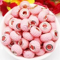 10 pcs 15x10mm new pink color murano large hole resin beads with silver brass cores european charm fit pandora bracelet necklace
