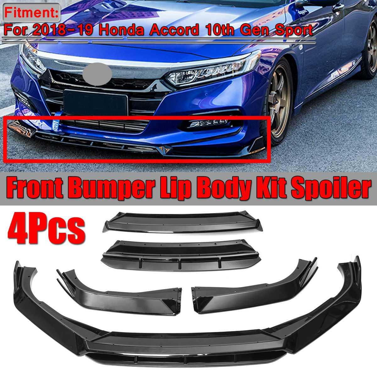 Separador de labios de parachoques delantero negro 4 Uds para coche, Kit de carrocería, divisor de alerón, parachoques delantero para Honda Accord para 10 2018-19 Gen Sport