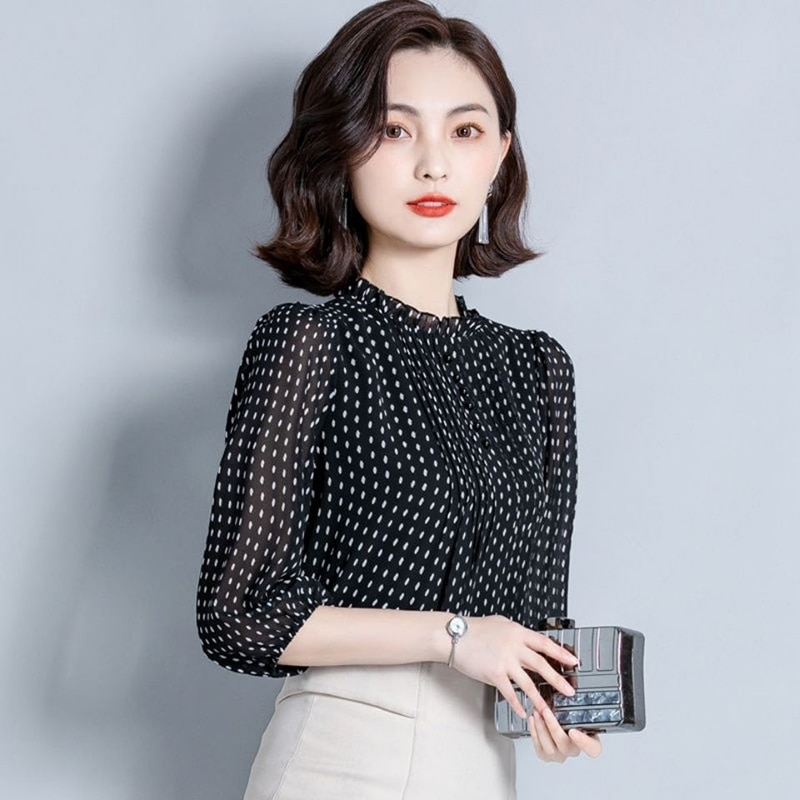Women Spring Autumn Style Chiffon Blouses Shirts Lady Casual Long Sleeve O-Neck Polka Dot Printed Chiffon Blusas Tops DD8879  - buy with discount