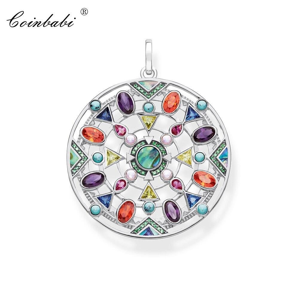 Pingente amuleto colorido 925 prata esterlina para mulheres meninas 2020 jóias moda bohemia presente thomas estilo pingente colar apto