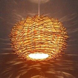Nordic ninho de pássaro pingente lâmpada vime vime madeira artesanal hotel restaurante café sala estar iluminação suspensão wj121922
