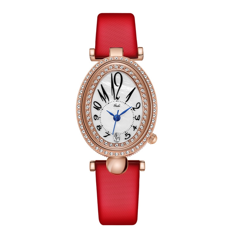 Fashion Rose Gold Dress Watches Women Red Genuine Leather Oval Dial Roman Numeral Stylish Quartz Female Wristwatch Gift Clock