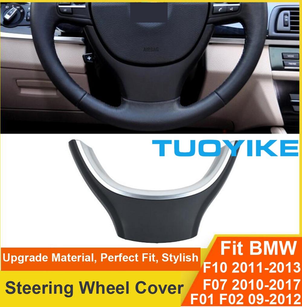 Estilo de coche de fibra de carbono negro embellecedor para volante calcomanía cubierta pegatina para BMW 5/7 serie F10 F11 F18 GT F07 F01 F02 520 525 730