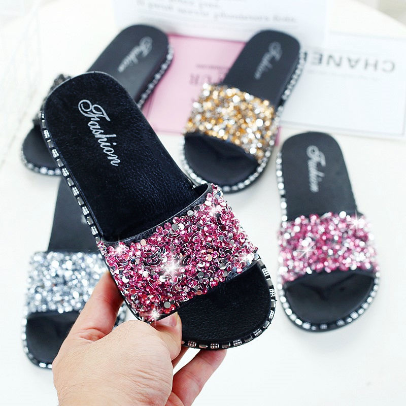Fashion Girls Shoes For Children Glitter slippers Home Summer Slides Mother and Daughter Shoes Womens Flipflops Chaussure Fille