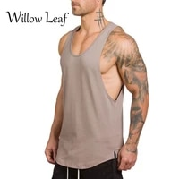 willow leaf summer gym clothing bodybuilding tank top men fitness singlet sleeveless shirt solid cotton muscle vest undershirt