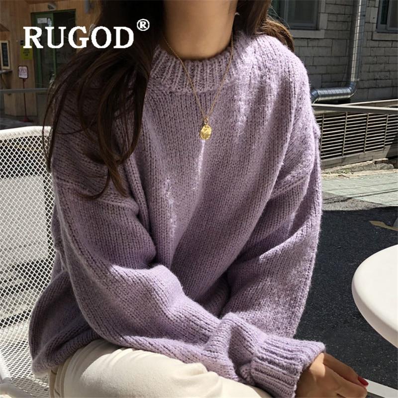 jersey mujer RUGOD doux Mohair Pull femmes mode frais violet vert O cou à manches longues Pull décontracté tricoté hiver Pull Pull Femme