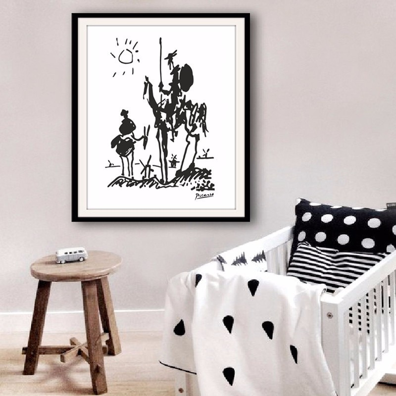 Pintura a óleo abstrata moderna da arte lona pablo picasso pinturas don quixote banksy poster parede fotos para sala de estar sem moldura