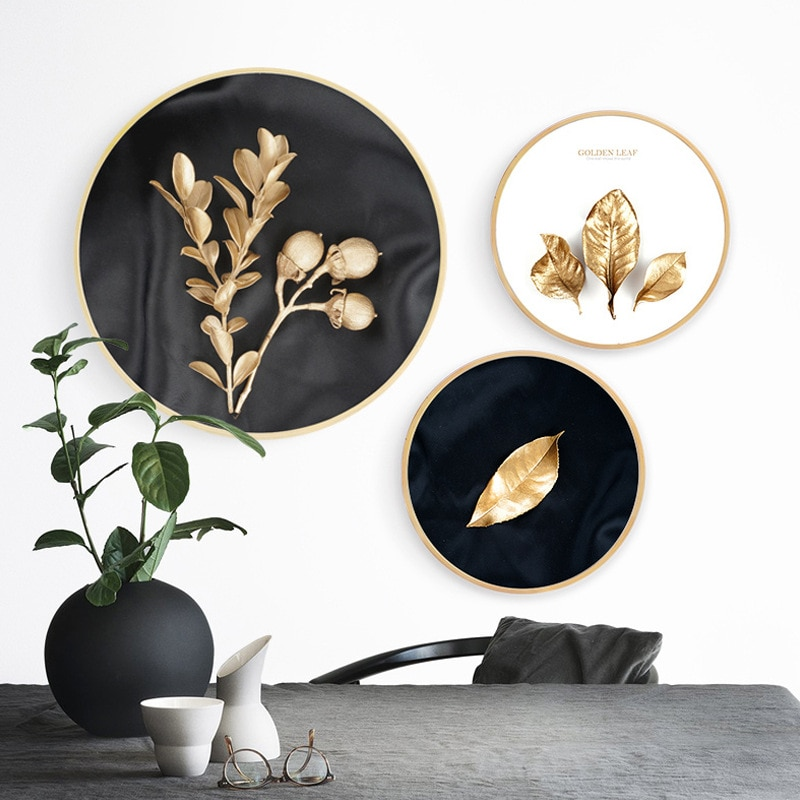 Hoja dorada, porche, lujo, redondo, nórdico, decoración del hogar, lienzo, impresiones de alta definición, póster, pintura para pared de salón, arte, cuadro Modular