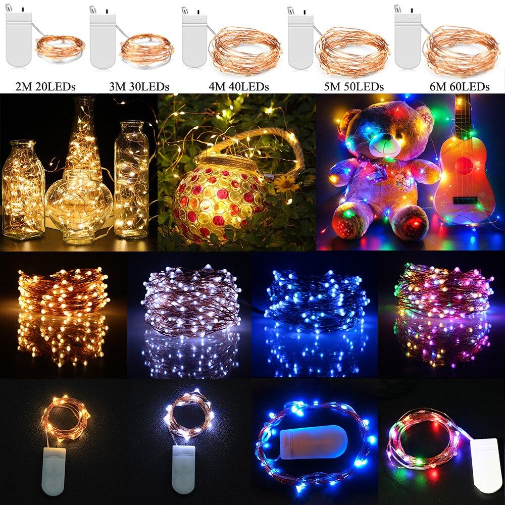 Новогодняя светодиодная гирлянда 20/30/40/50/60 светодиодов с питанием от аккумулятора, медный провод, водонепроницаемая светодиодная лампа для ...