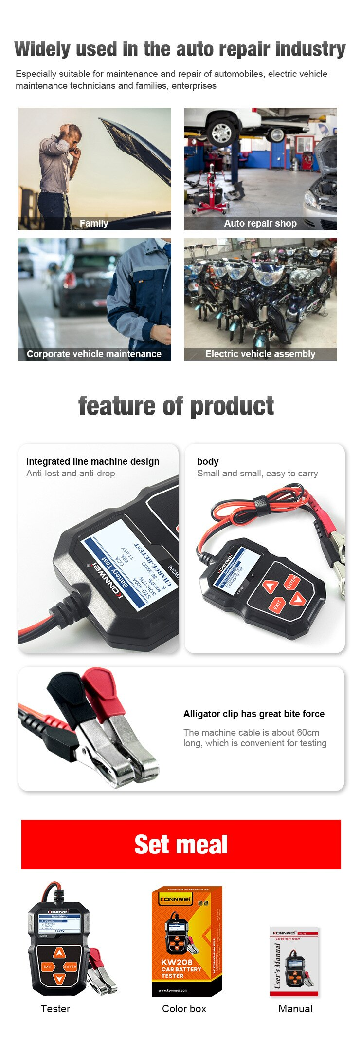 Automobile Battery Tester Battery Resistance Tester Universal Battery Tester Universal Detector