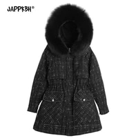 women winter jackets female thick warm parkas faux fur hooded coats vintage black plaid outwears thermal slim casual clothing
