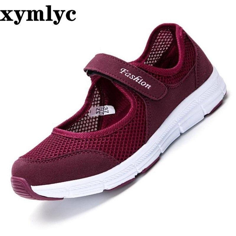 Femmes chaussures plates mode maman ballerines dames chaussures de marche décontractée printemps été mocassins respirant Air maille chaussures de marche