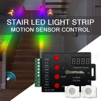 DIY Stair Light Strip Motion Sensor Dimming PIR Streamline Addressable Light Under Cabinet DC12V Dreamcolor Light Strip IP65