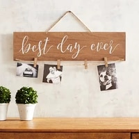 wooden hanging photo display for wall decor wood clip diy picture frames card holder organizer wedding home decoration supplies