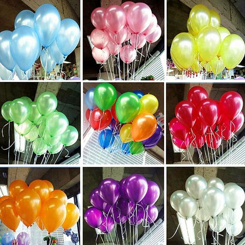 100 Uds 10 pulgadas globo de látex perlado 15 colores decoraciones inflables para bodas globo de feliz cumpleaños fiesta globos