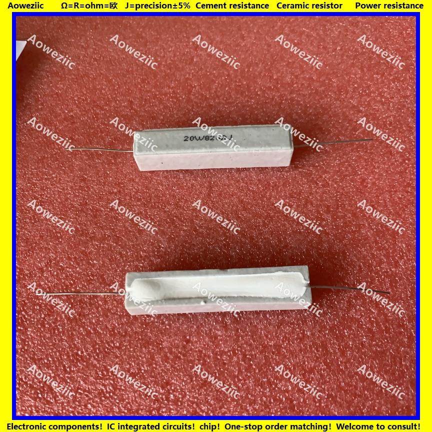 10 pçs rx27 resistor de cimento horizontal 20 w 820 ohm 20 820r 820rj 20w820rj resistência cerâmica 5% resistência potência
