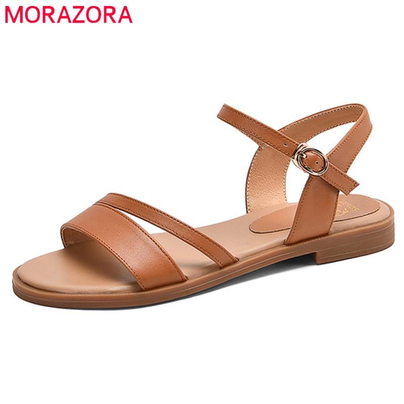MORAZORA 2020 جديد الموضة جلد طبيعي الصنادل النساء حذاء كاجوال مشبك بسيط الصيف شقة sandlas السيدات حجم كبير 43