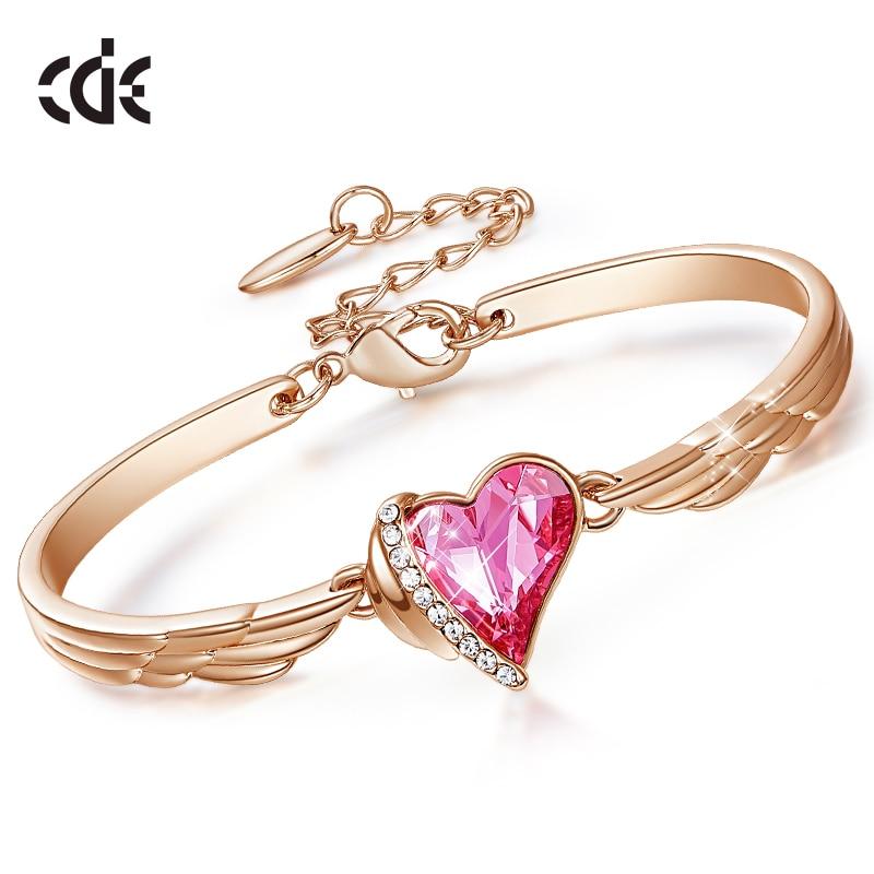 CDE lüks marka takı melek kanatları gül altın bilezik pembe kalp kristal Swarovski Charm bilezik kadın aksesuarları