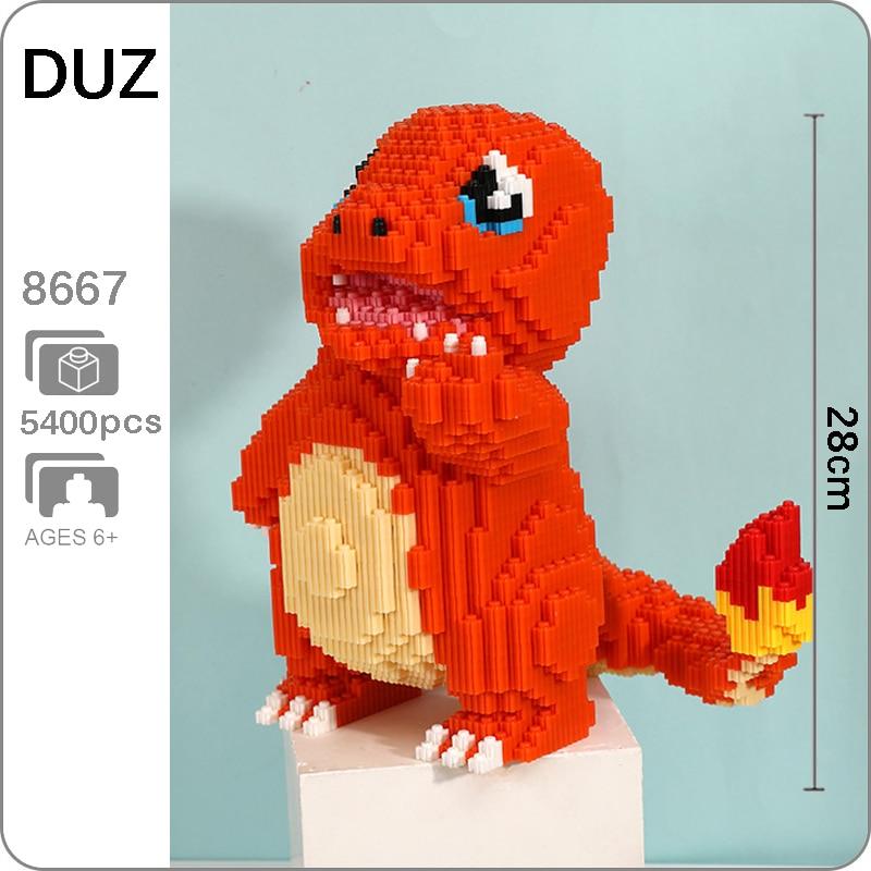 DUZ 8667 animé Charmander Animal de bolsillo modelo 3D DIY Mini bloques de construcción de juguete para niños 28cm de alto sin caja