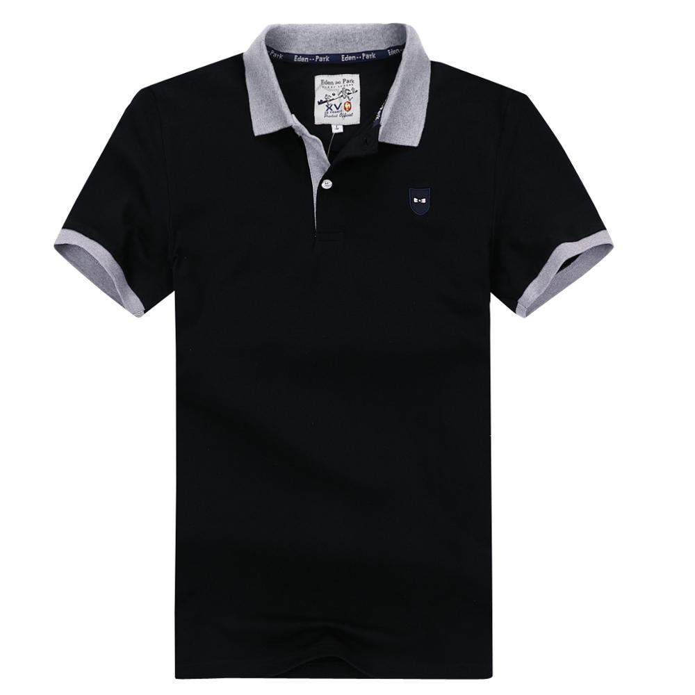 Eden-park clássico homme polo estiramento algodão confortável eden/parque polo masculino boa qualidade bordado logotipo plus size 3xl